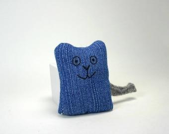 Handmade Catnip Kitty; Blue Denim Eco-friendly Cat Toy with Organic Catnip; Handmade Cat Toy