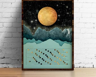Moon Calendar 2018, Wall Calendar 2018 - Moon with mountains calendar A3, A3+, A2 - calendar print - art print - wall art - home decor