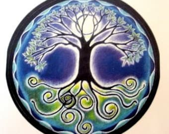 "Mandala Sticker -  Full Moon Mandala - Tree  of Life 3"" sticker."