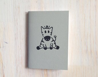 Pequeño cuaderno: Cebra, para él, ella, bebé, negro, gris, mano tallada, niños, Jotter, diario Mini, pequeño cuaderno, estampado, exclusivo, O15