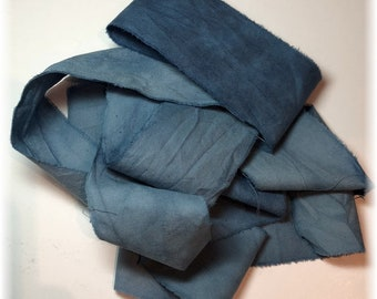 2 Yards Hand Dyed Cotton Ribbon/Quilt Binding in FADED INDIGO for Your Creative Adventures!
