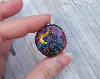 Rainbow Garden, 3D pretty flower Lampwork Focal Bead, rainbow, purple, gold
