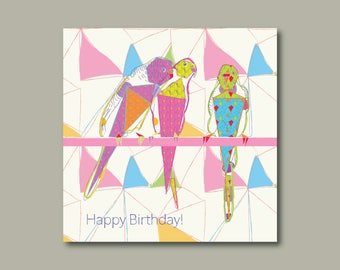 Funky Budgie Birthday Card