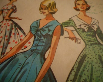 Vintage 1950's McCall's 3715 Dress Sewing Pattern Size 14 Bust 32