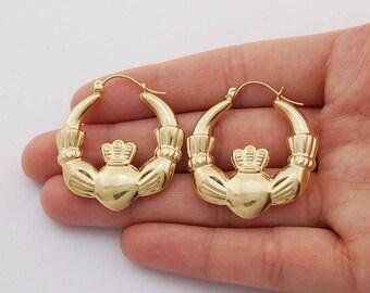 14k Yellow Gold Irish Claddagh Textured And Puffed Hoop Earrings