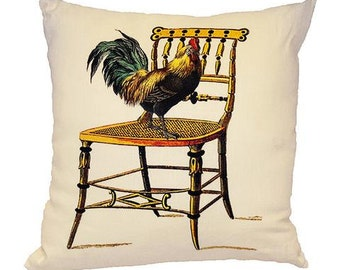 Rooster Perched on Antique Chair