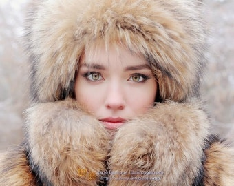 Real raccoon fur hat for women t Fur trapper hat Luxury Christmas gift for wife warm hat