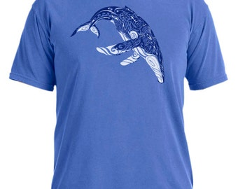 Whale Tribe garment dyed mystic blue tribal t-shirt