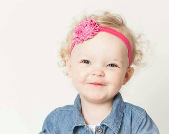 Baby Headband Hot Pink White Polka Dots - Gift or Photo Prop - Newborn Infant Toddler Girl Adult Birthday Party Favor
