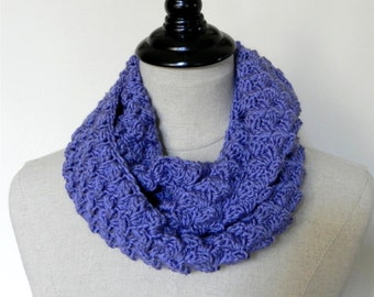 Crochet infinity scarf, blue berry cluster is ready to ship, infinity cowl scarf #446