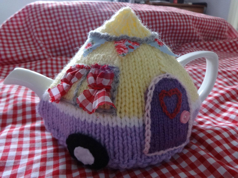 Caravan tea cosy cozy knitting pattern pdf camping retro