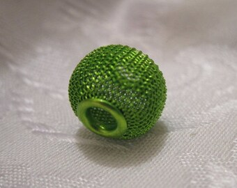 14x12mm, Dione Steel Mesh Beads, Large Hole, Green - Available in 4, 6 & 10 Bead Pkgs and also in Larger Pkgs