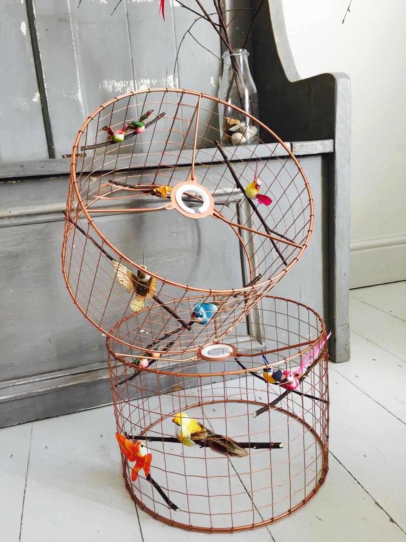 oiseau cage l g re en cuivre abat jour lustre taille. Black Bedroom Furniture Sets. Home Design Ideas