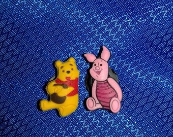 2 Winnie The Pooh Button Shoe Charms for Jibbitz bracelets or Crocs shoes