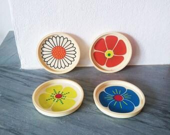 """Set of 4 Vintage Plastique Coasters French Vintage """"Samo chips"""""""