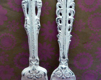 Fork Spoon Set Wall Decor Shabby Chic White Home Decor Wall Art