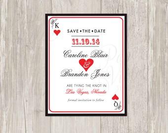 Las Vegas Save the Date Printable | Las Vegas, casino theme wedding | FREE wedding invitation sample