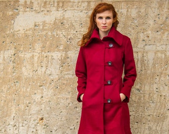 SALE 300 OFF Cashmere and wool women's winter coat, Sangria Red ladies coat