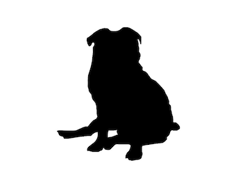 Pug v5 Dog Breed Silhouette Custom Die Cut Vinyl Decal Sticker - Choose your Color and Size
