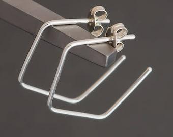 Minimalist Angular Hoop Earrings Sterling Silver. Small. Boho Urban Gypsy Sleek Elegant. Eco Recycled Reclaimed Everyday Design