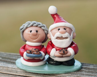 Santa and Mrs Claus with Cookies Polymer Clay  Christmas Holiday Decoration Keepsake