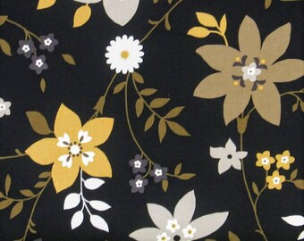 Gold, Gray and Soft White Large Floral on Black 100% Cotton Quilt Fabric, Flint Collection by Red Rooster Fabrics, RER468626487-BLA1