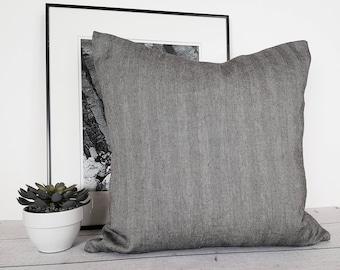 Herringbone Pillow, Gray Cushion Cover, Wool Pillow, Black Grey Pillows, Decorative Pillows, Lodge Decor, Mans Throw Pillows, 14x20, 20x20