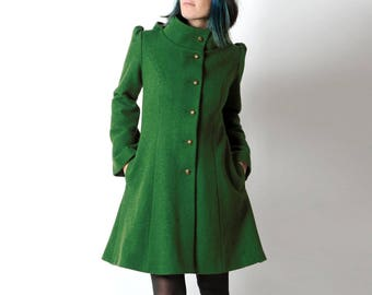 Malachite green wool coat, Green womens coat with pixie hood, Warm green hooded winter coat, virgin wool coat, Custom-sized, MALAM