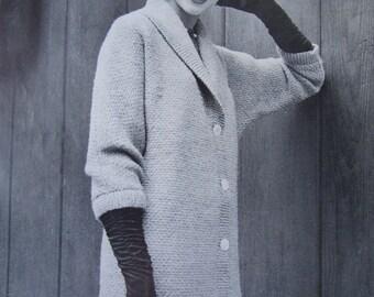 Knitted Sweater Coat Pattern - 1950's Vintage Pattern, Women's Knit Coat PDF 5060