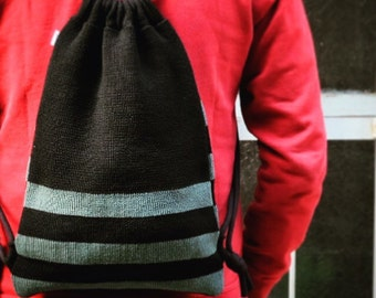 Knitted backpack. Wool and cotton. Woollo hand. Gift for him. Valentine's day. Unisex.WOOLLO knapsack bag. Black and cerulean // Handknitted