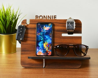 Gift for men / Gift for Him / Gift for Dad / Gift for Birthday / Docking Station / Desk Organizer / Gift for Boyfriend / Personalized Gift