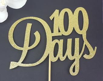 100 Days Cake Topper, 100 Days, Happy 100 Days, Glitter Cake Topper, 100 Days Celebration, Korean Cake Topper, 100 Days Decor