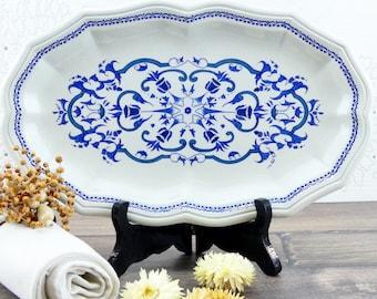 French dish Salins - serving dish - large French oval platter - Salines Ségur - royal decor - white and blue porcelain - Large platter