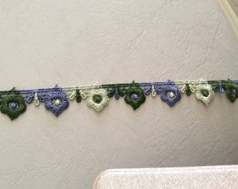 Ribbon lace 2 cm in width to khaki beige and purple