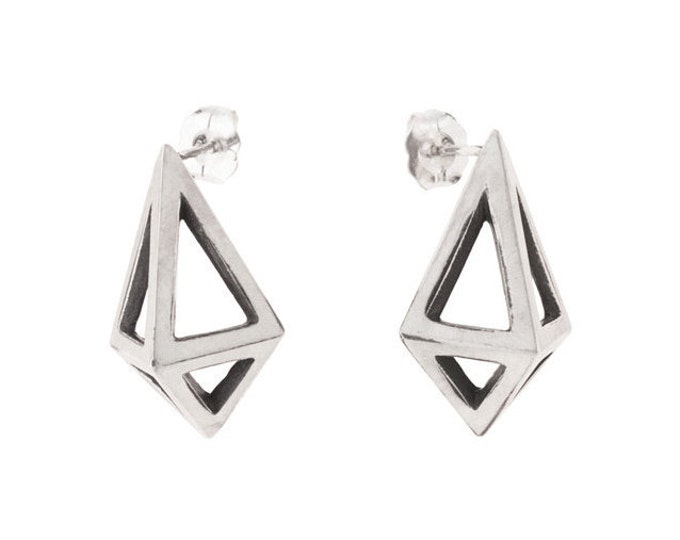 Large Silver Prisms // Geometric Modernist Studs