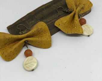 Ruched cork earrings | SHIPPING INCLUDED