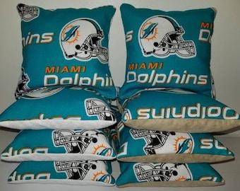 Set Of 8 Stick Slick Miami Dolphins Stop Go Cornhole Bean Bags FREE SHIPPING