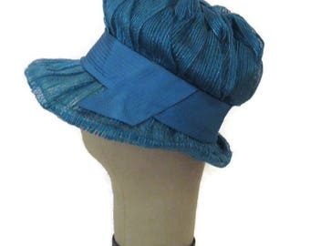 60s Bubble Hat Blue Spring Hat Draped Gathered Ribbon Teal Blue Hat  Jewel Tone Blue Made in Canada 1960s Brimmed Hat Vintage Womans Hat