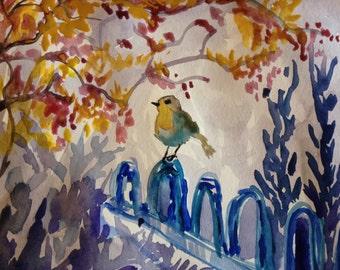 ORIGINAL WATER color painting BIRD