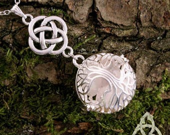 Elven necklace the elven tree of life Yggdrasil Rose Quartz tree medieval elven Wedding Eve stone