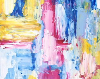 Modern Abstract Original Artwork Painting Acrylics on paper- My Happy Zone-II