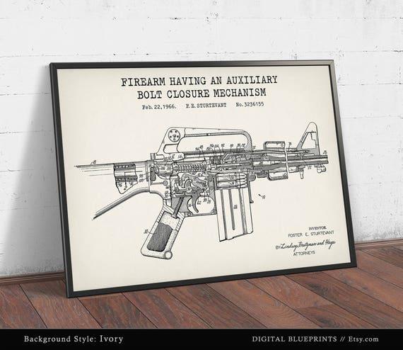 M16 rifle 1966 patent print digital download ar 15 sniper m16 rifle 1966 patent print digital download ar 15 sniper wall art man cave decor firearm blueprint machine gun poster soldier gift malvernweather Image collections