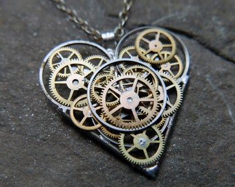 "Clockwork Heart Pendant ""Haviland"" Steampunk Necklace Industrial Gear Mechanical Watch Parts Love Gift Wife Girlfriend Birthday Gift"