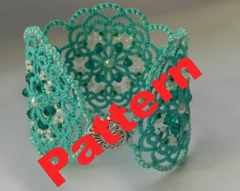 Tatting lace bracelet PDF pattern  tatting jewellery PDF  lace jewelry tatted lace frivolite