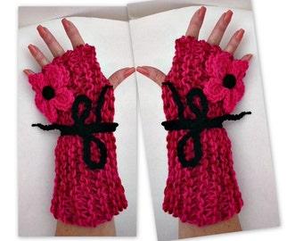 FINGERLESS Gloves, Texting Gloves,  KNITTING PATTERN , knit flower pattern, boy, girl, children, adult, men, women. num 936- beginner