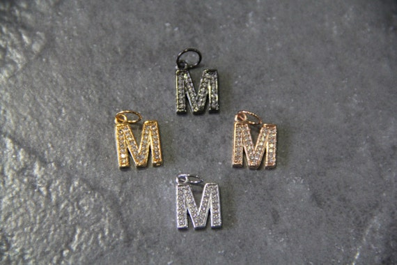 """CZ Micro Pave Letter """"M"""" Charm with Jump Ring"""