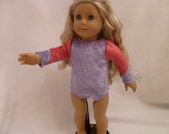 18 Inch Doll Gymnastics Leotard Hand Made, Pink and Purple Gymnastics Leotard fits Isabelle and American Girl Dolls