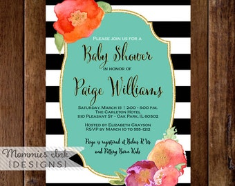 Watercolor Floral Baby Shower Invitation, Black and White Stripes Shower Invitation, Floral Glitter Invitation, Orange Flower invitation