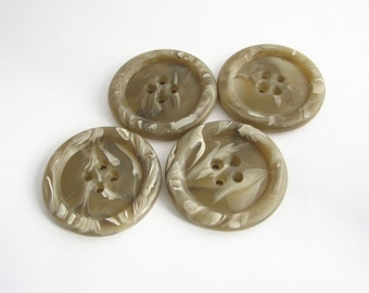 Chunky taupe Buttons, 4 extra large buttons for coats, Mods style, vintage buttons, unused!!