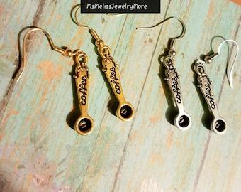 Coffee Scoop, Bean earrings, coffee earrings, coffee lover
